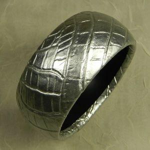Croc Embossed Silver Faux Leather Bangle Bracelet